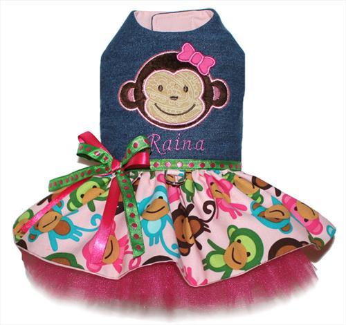 Personalized Denim Monkey Dress