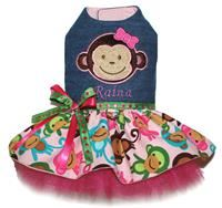 Personalized Denim Monkey Dress